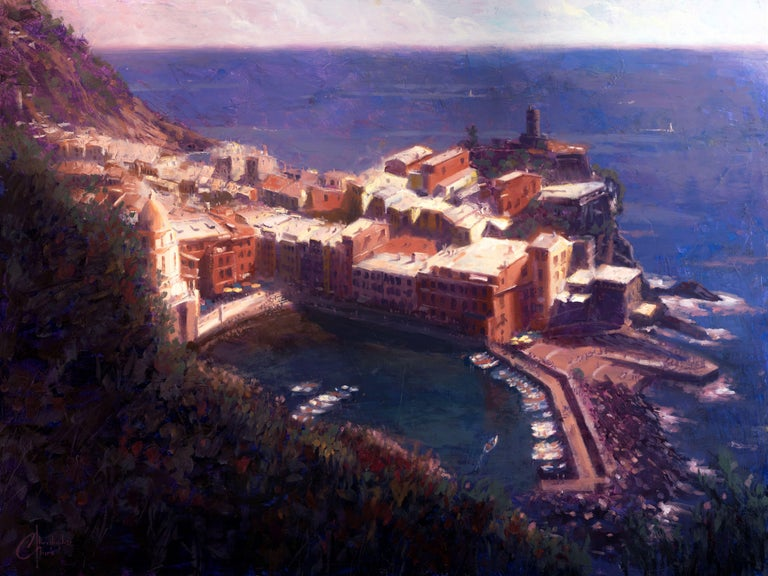"""Christopher Clark Figurative Painting - """"Cliffs of Vernazza"""" Oil Painting"""