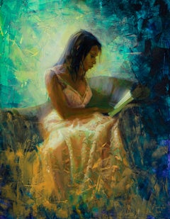 """Reading"" Oil Painting"