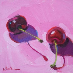 """Two Cherries on Pink"" Oil Painting"
