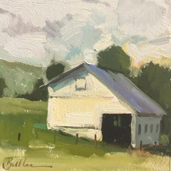 """""""Old White Barn"""" Oil Painting"""