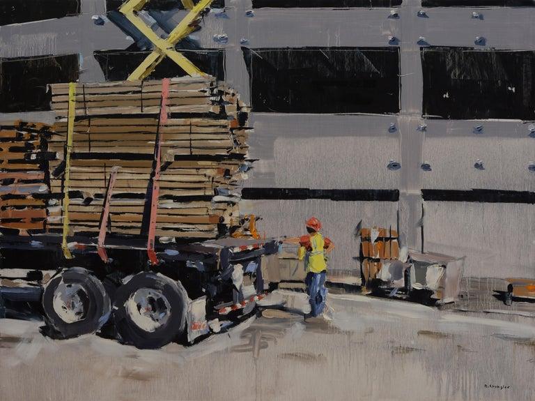 "David Shingler Landscape Painting - ""Unloading Truck"" Oil Painting"