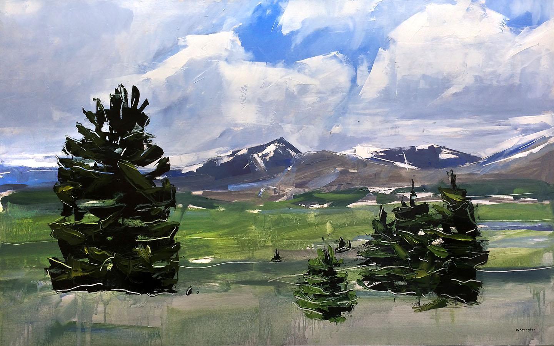 """Mt. Evans and Bierstadt, Colorado"" Oil Painting"