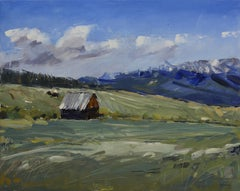 """Mountain Cabin"" Oil Painting"