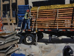 """""""Man on Truck"""" Oil Painting"""