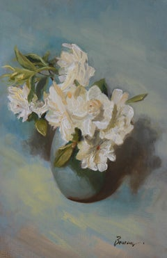 """Gardenia on a Blue Table,"" Oil Painting"