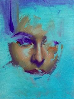 """Aqua Study, Wonder"" Oil Painting"