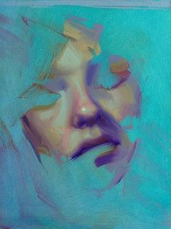 """Aqua Study, Awe"" Oil Painting"
