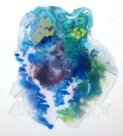"""City Wading"" Mixed media painting"