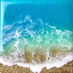 """Teal Waves - Feel"" Mixed Media Painting"