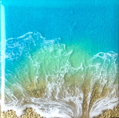 """Teal Waves - Embrace"" Mixed Media Painting"
