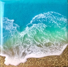 """Teal Waves - Dream"" Mixed Media Painting"