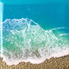 """Teal Waves - Cherish"" Mixed Media Painting"