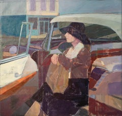 """""""Waiting By the Vehicle,"""" Oil painting"""