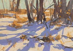 """Snow Shadows,"" Gouache Painting"