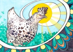 """""""Chicken and the Egg,"""" Watercolor Painting"""