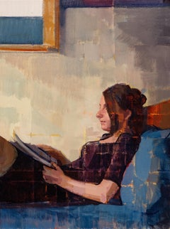"""""""Book Reader 3,"""" Oil Painting"""