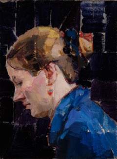 """""""Blue Profile,"""" Oil Painting"""