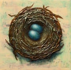 """Nest with Two Eggs,"" Mixed Media Painting"