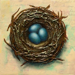 """Nest with Three Eggs,"" Mixed Media Painting"
