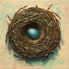 """Nest with One Egg,"" Mixed Media Painting"