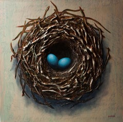 """Bird's Nest, Two Eggs,"" Mixed Media Painting"