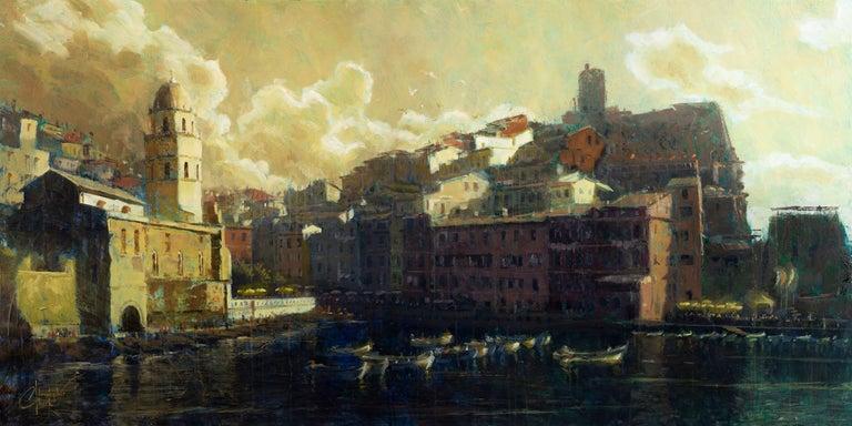 "Christopher Clark Landscape Painting - ""Vernazza Harbor"" Oil Painting"