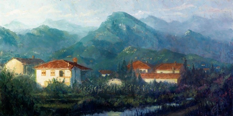 """Christopher Clark Figurative Painting - """"Italy Countryside"""" Oil Painting"""