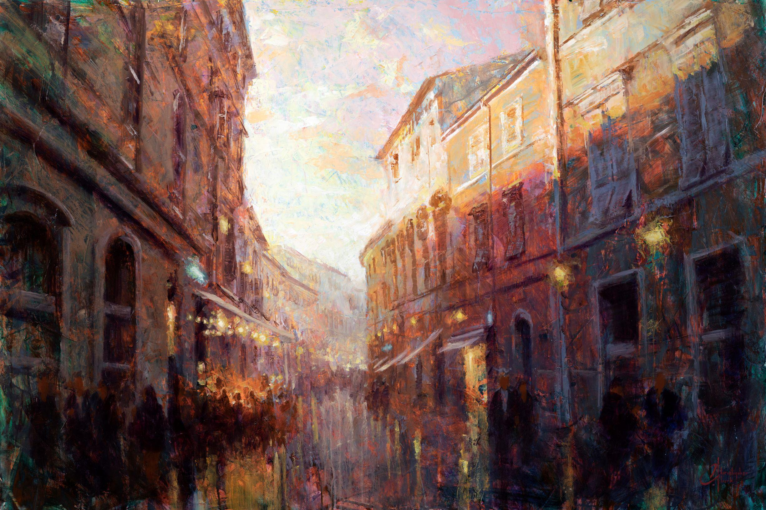"""""""Bustling Alley at Dusk"""" Oil Painting"""