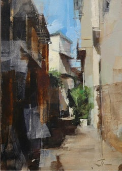 """Alley in Nice,"" Oil Painting"