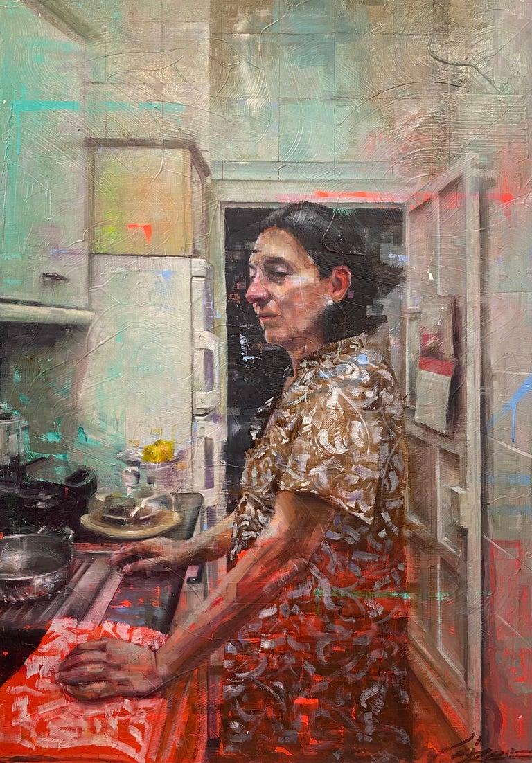 """Conrado López Portrait Painting - """"Mama,"""" Oil Painting"""