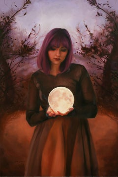 """Pink Moon,"" Oil Painting"