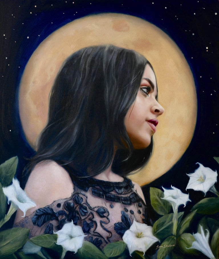 "Sara Scribner Portrait Painting - ""Night Bloom,"" Oil Painting"