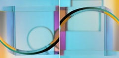 Line of Beauty - Geometric, abstract, multicolored diptych
