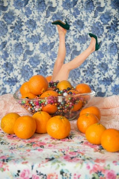 Marge - Still life with oranges, a woman's legs, & floral wallpaper
