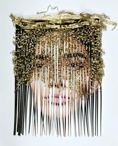 Disassemble #23 - Archival pigment print portrait hand-woven with gold ribbons