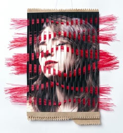 Disassemble #49 - Portrait hand-woven with kraft paper and red scrub brush
