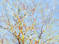 Feynman's Notes 45 - Blue & yellow digital collage tree, sky & nature abstract