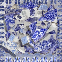 Shards of Blue - Porcelain china pattern abstract geometric collage