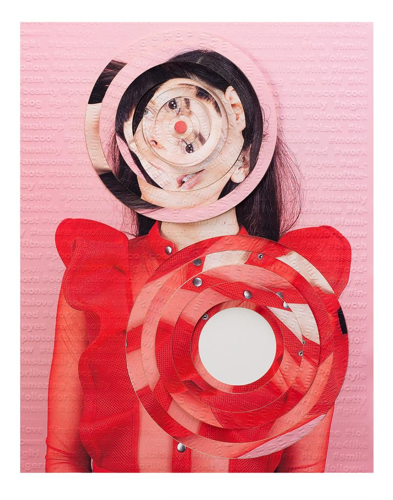 Subject #9 - Pink & red circle laser cut portrait embossed with hashtags