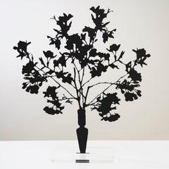 Cherry Blossoms - Floral black shadow flower bouquet sculpture