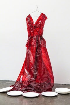 Red Cellophane - Ballgown still life dress made from red cellophane