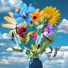 Flower POP 2 - Floral bouquet collage with acrylic paint embellishments
