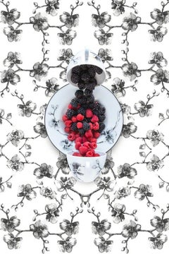 Aram Black Orchid with Berries - Black & white floral dishes still life