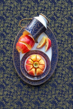 Sango Aristocrat with Apple - Navy & gold floral dishes still life with apples