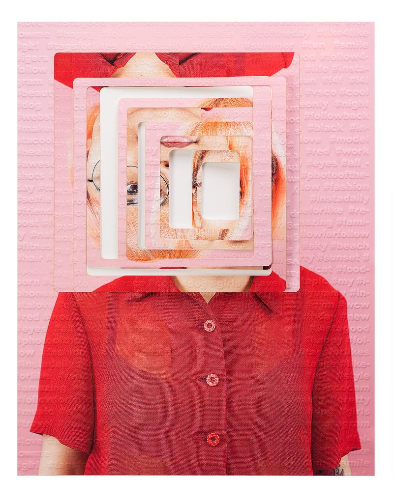 Subject #3 - Pink & red laser cut portrait with squares, embossed with hashtags