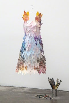 Fan Deck - Colorful & sculptural still life dress made from paint chips