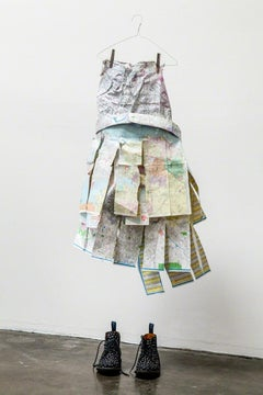 Road Maps - Sculptural still life dress made of maps with polka dot boots