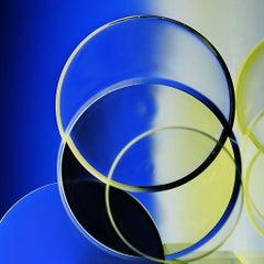 Circular Domains - Blue & yellow light abstraction with circles