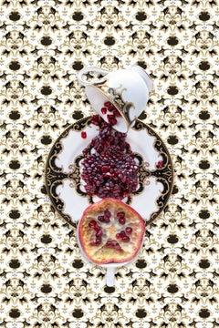 Marchesa Baroque Night with Pomegranate - Black & gold food fruit still life