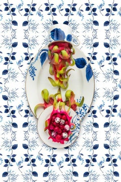 Kate Spade Birch Way with Dragonfruit - Blue & white food fruit still life